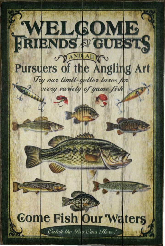 Картина Riversedge Fishing Wood Sign