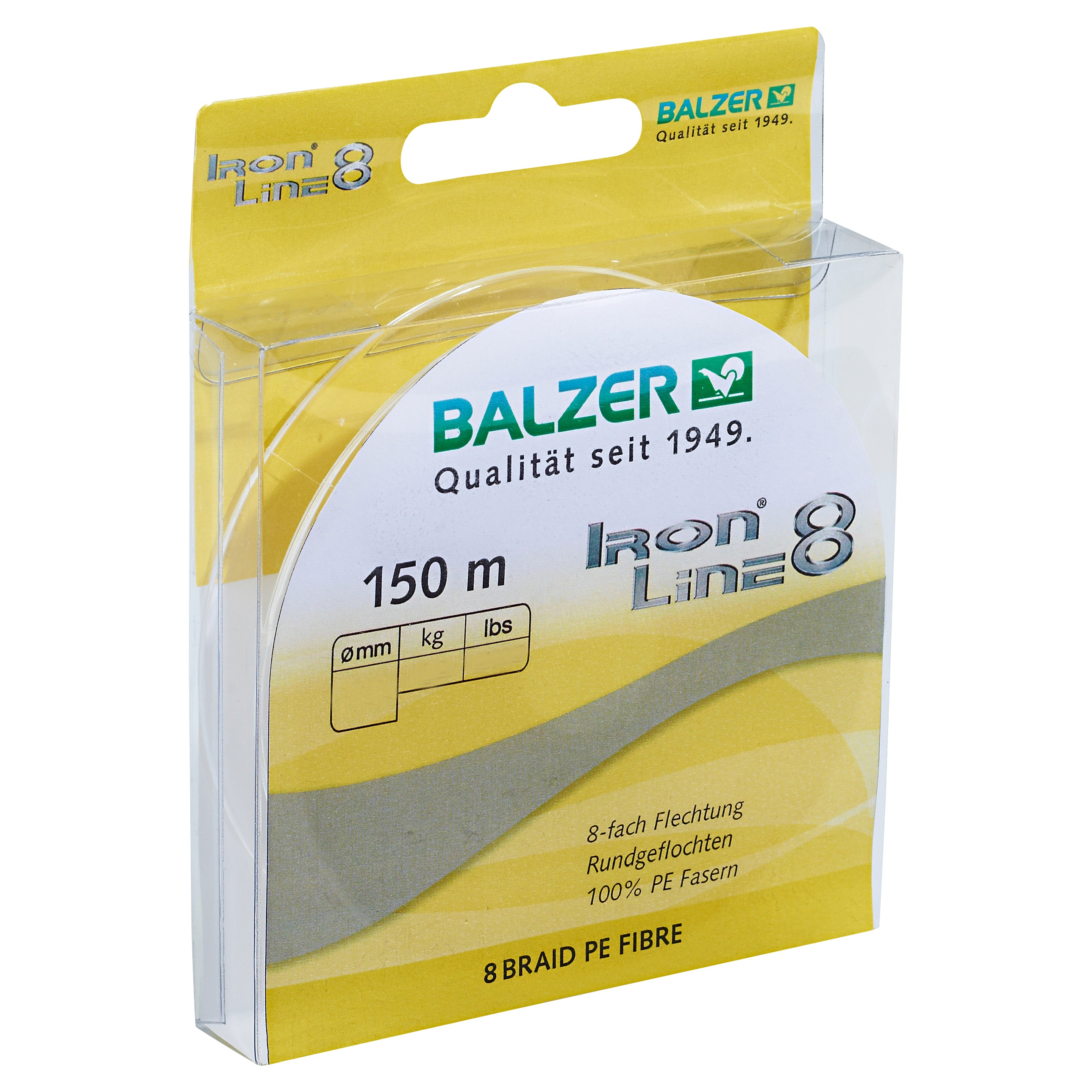 Шнур Balzer Iron Line 8x 150m 0.24mm/19.50kg желтый
