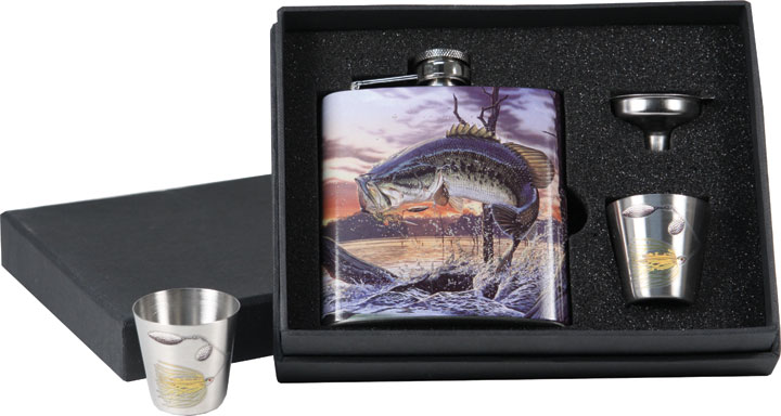 Набор (фляга + рюмки)  Riversedge Bass Flask / shot glasses
