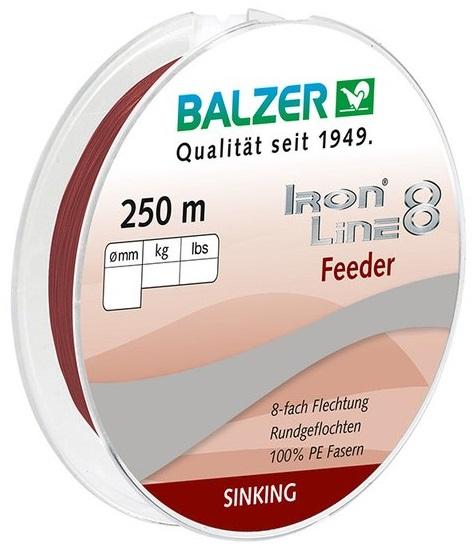 Шнур Balzer Iron Line Feeder 8x 250m 0.10mm/8.10kg темно красный